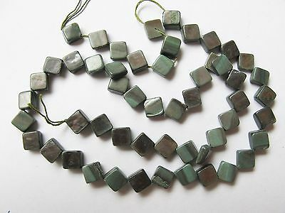 Mother of pearl MOP shell grey 8mm flat diamond square beads 15""