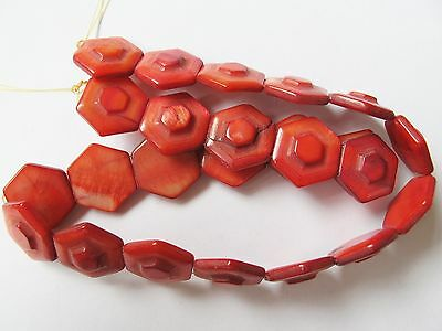 """Mother of pearl shell MOP red 15mm flat hexagon beads 15"""" double hole"""