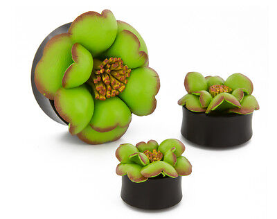 Fields of Green Hand Painted Leather Flower Plug - Price Per 1