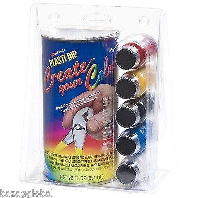 Create Your Color Plasti Dip Kit, Clear 22oz, Tints: Red,Yellow,Black,Blue,White