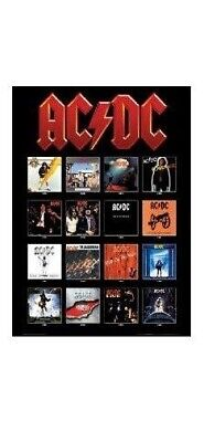 AC/DC ~ ALBUM COVERS 24x36 POSTER Music AC-DC AC DC Back In Black Angus Young