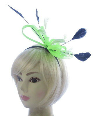 large Neon Green and black Headband Aliceband Hat Fascinator Wedding Ladies Day