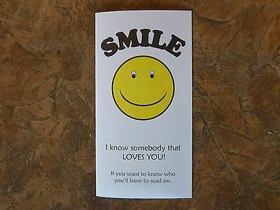 1000 Smile Gospel Tracts - Share your faith - God  -Ships FREE in US