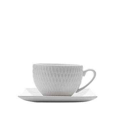NEW Maxwell & Williams White Basics Diamonds Square Demi Cup & Saucer 90ml