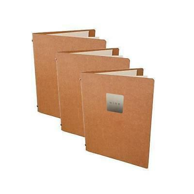 5x Deluxe Tuscan Leather Menu, Natural A5 w 2 Pockets, 'Wine' Badge Restaurant