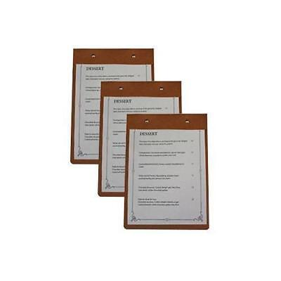 10x Deluxe Tuscan Leather Mini Menu, A5 Natural w Top Fitting, Restaurant / Cafe