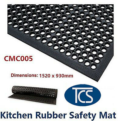 TCS Large Kitchen Bar Rubber Safety Mat 1520 x 930mm Anti-Slip + Anti-Fatigue