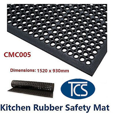 TCS Large Kitchen Bar Wet Rubber Safety Mat 1520 x 930mm Anti-Slip Free Shipping