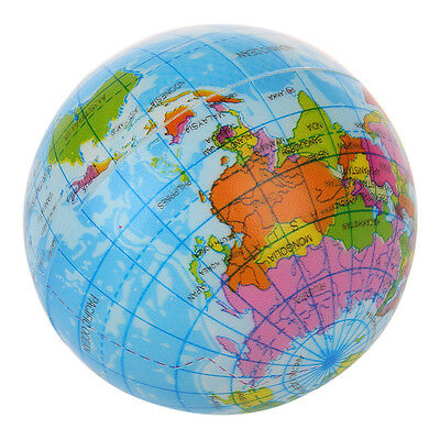World Map Foam Earth Globe Stress Relief Bouncy Ball Atlas Geography Toy Gift DW