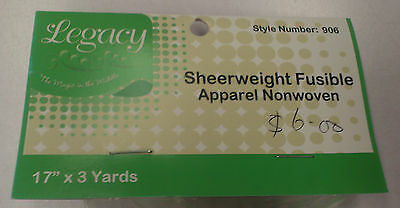 2 ROLLS X 3 YARDS : LEGACY FUSIBLE SHEER WEIGHT : Style No 906F :