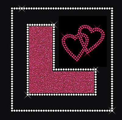 Hen Party L Plate Diamante Rhinestone and Glitter Iron on Transfer Bling