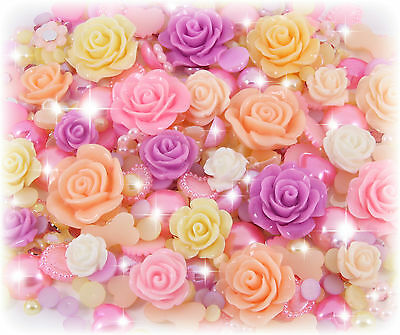 'Spring Flowers' Sparkle Cabochon Pearl Rhinestone Decoden Kit Set Kawaii Mix