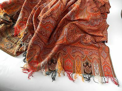 Antique Kashmir Shawl in Wool Paisley Design c 1900 REDUCED