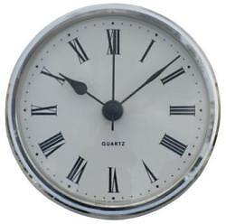 102mm Clock Suitable for Caravans Motorhomes and Boats White Roman Silver bezel
