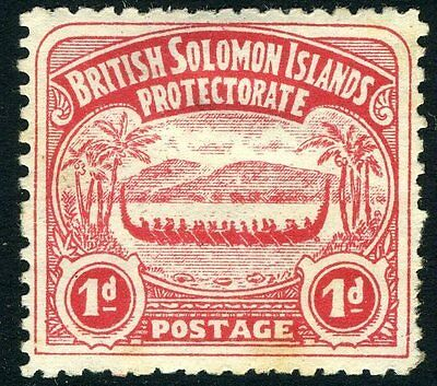 BRITISH SOLOMON ISLANDS-1907 1d Rose-Carmine Sg 2 MOUNTED MINT V10043