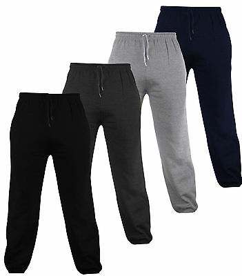Mens Bottoms Joggers Track Pants Tracksuit Jog Bottom Fleece ZIP POCKETS S-XXL