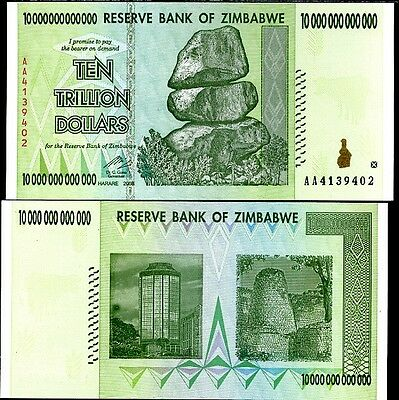 ZIMBABWE 10 TRILLION DOLLARS 2008 P 88 AA in 100 TRILLION SERIES AUNC ABOUT UNC