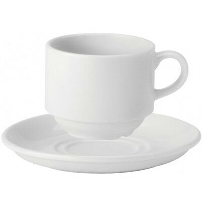 Box Of 24 White Stacking Catering Cups & Saucers