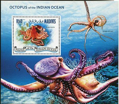 MALDIVES STAMP 2014 OCTOPUS of th INDIAN OCEAN S/S