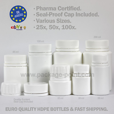 Pill Bottle Plastic x25 x50 x100 White Medical HDPE Vitamins Health Supplements
