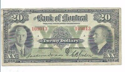 1935 Canada Bank of Montreal Twenty Dollar $20 Note; Dodds/Gordon; S560b;