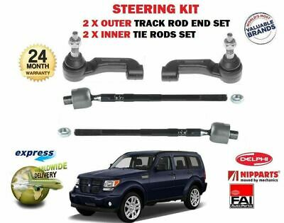 FOR DODGE NITRO 2007- NEW 2x OUTER & 2x INNER STEERING TRACK RACK TIE ROD END