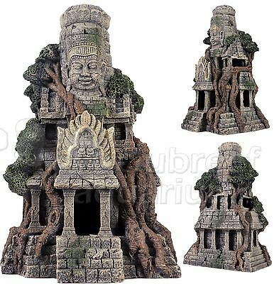 Ancient Civilization Cambodian Temple Fish Cave Ruin Aquarium Decor Ornament 11""