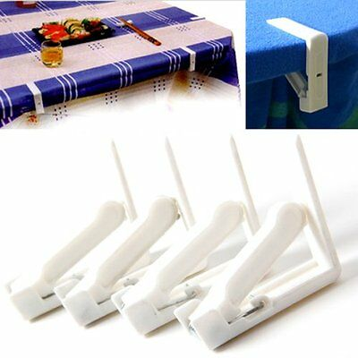 Lot De 4 Pince Nappe Accroche Attache Fixe Serre Clip Plastique Table Blanc  WT