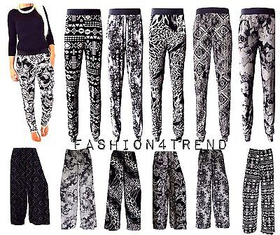 Womens Ladies Paisley Print Cuffed Bottom Two Pocket Harem Palazzo Trousers Pant