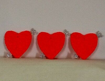 Valentine Hearts w/ Arrows Vintage Trio Of Melted Plastic Popcorn 1960's/1970's