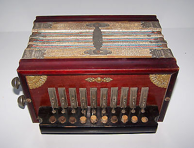 Antiquität Vintage Accordeon Tivoli 10 Knöpfe Holz 1930s Akkordeon Made Germany