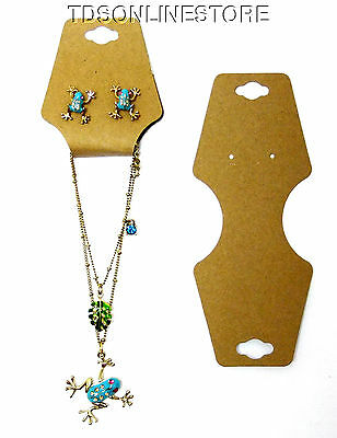 100 Pack of Kraft Necklace/Bracelet/Earring Fold Over Cards w Adhesive