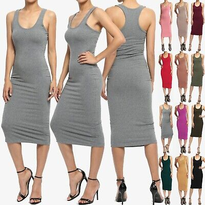 TheMogan JUNIOR's Sleeveless Scoop Neck Racerback Tank Bodycon Pencil Midi Dress