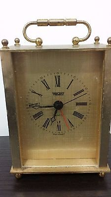 Great Condition & Working TRENKLE West Germany Mantel CLOCK Quartz Handle on Top