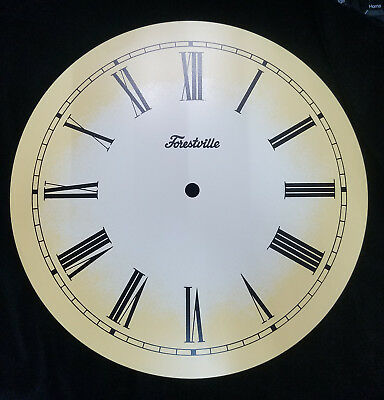 "New 10"" Antiqued Metal Ivory Clock Dial with Black Roman Numbers (C-609)"