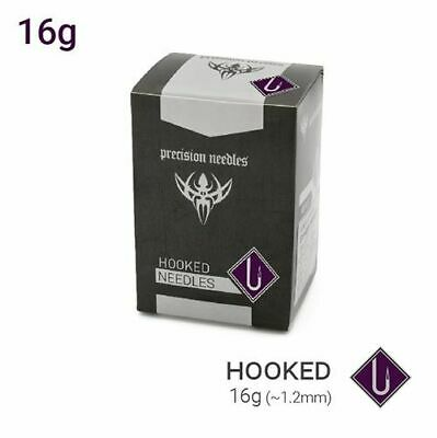 16g Precision Sterilized Hooked Piercing Needles — Box of 100