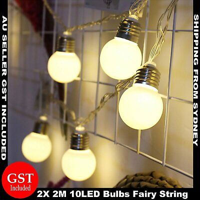 2.2M 20LED Battery Operated Bulb String Fairy Lights Warm White Party Wedding De
