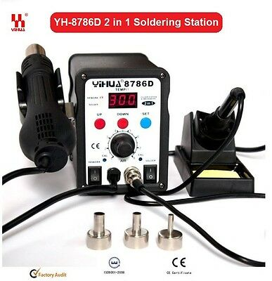 Genuine YIHUA 2 in 1 Soldering Solder Station SMD Rework Iron +Hot Air Gun 8786D