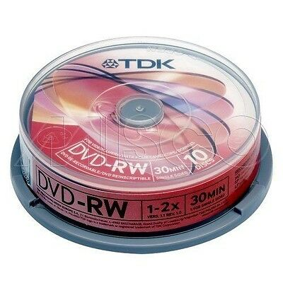 TDK 8cm DVD-RW Camcorder Discs 10 Disc Spindle 1.4GB BRAND NEW FREE POSTAGE UK