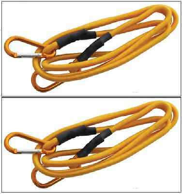 """2 x Extra Long 72"""" Heavy Duty Yellow Bungee Cord Straps Ropes & Clips S0619"""