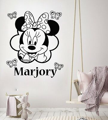 Wall Decal Personalized Girl Name Minnie Mouse Vinyl Decal Sticker Nursery ZX282