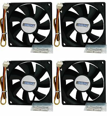 *FREE POSTAGE* 4 x 80mm Computer Case Cooling Fan. Quiet,w/Screws - VALUE PACK!