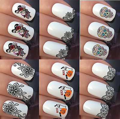 Nail Art Water Stickers Transfers Decals Wraps Flower Lace Sugar Skull Halloween