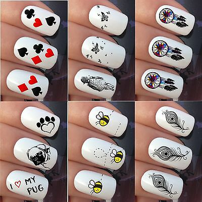 Nail Art Stickers Water Transfer Decals Wraps Minions Dream Catcher Pug Feathers