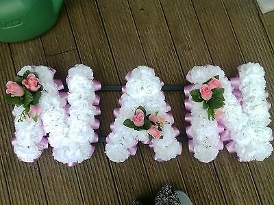 Artificial Funeral  Tribute Flower  Mum Nan Any 3 Letters White