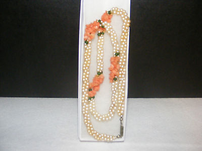Double Strand Pearl Necklace Coral Jade Gold Accents