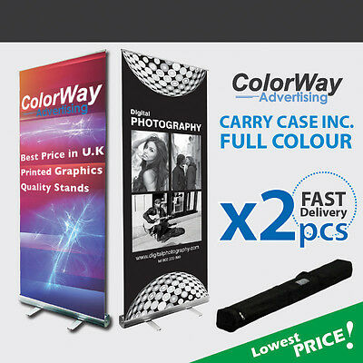 2 pcs of Printed Roller Banner - Pop Up/Roll Up/Pull up Exhibition Display Stand