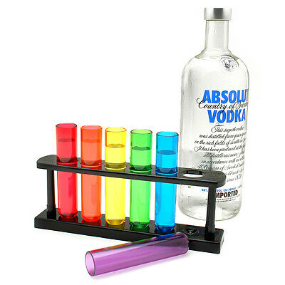 6 Piece Multicolored Test Tube Shot Glasses with Serving Stand