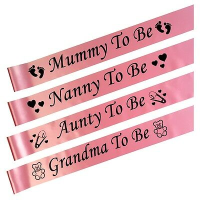 PINK BABY SHOWER SASHES, Mummy, Nanny, Aunty & Grandma To Be, Girl party sash