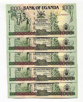 Uganda 1000 Shillings 1998 P-36 Unc Lot 5 Pcs